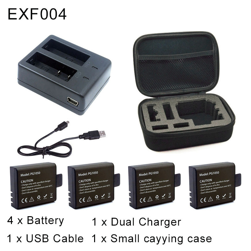 1pcs Dual Charger + 2Pcs 1050mAh Backup Rechargeable Li-ion Battery For EKEN H9 H9R H8PRO H8R SJ4000