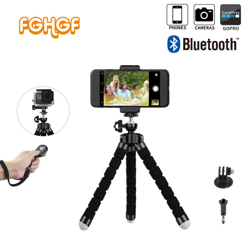 2017 New Bluetooth Remote Shutter+Mini Flexible Tripod+Phone Holder Clip + Bag for Gopro Hero 3 4
