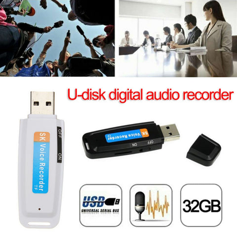 U-Disk Digital Audio Voice Recorder Pen charger USB Flash Drive up to 32GB Micro SD