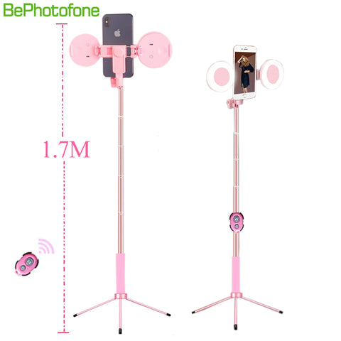 2019 new 1.7m Extendable live Tripod Selfie Stick LED Ring light Stand 4 in 1 With Monopod Phone