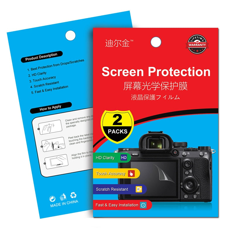 2Pcs Screen Protector LCD Film for Sony A6500 A6300 A6000 A9 A7 A7S A7R Mark II