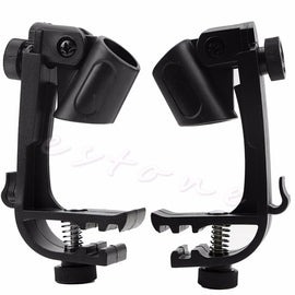 2X Adjustable Clip On Drum Rim Shock Mount Microphone Mic Clamp Holder