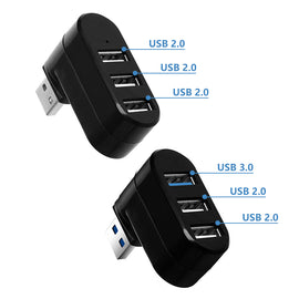 3-in-1 USB2.0/3.0 Ports HUB High Speed Rotating Splitter