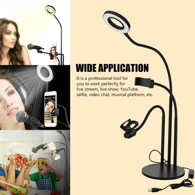 360 Degree 3-in-1 Long Arm Flexible Bracket Stand With Dimmable LED Fill Light Selfie Ring Light