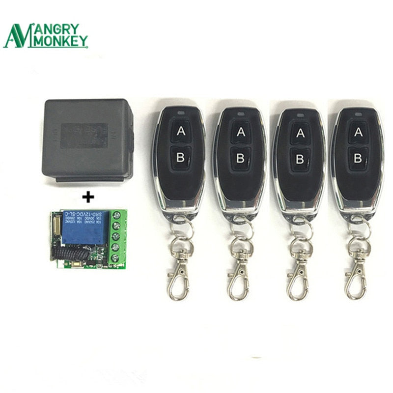 433Mhz Universal Wireless Remote Switch DC 12V 1CH relay Receiver Module and 4 pieces RF Transmitter