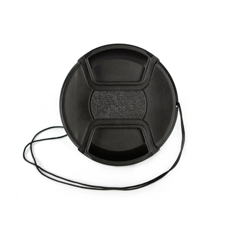 Front Lens Cap Center Pinch Cover Snap-on with cord for Canon, Nikon, Pentax and Sony