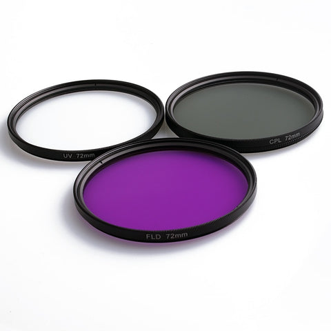 49MM 52MM 55MM 58MM 62MM 67MM 72MM 77MM UV+CPL+FLD 3 in 1 Lens Filter Set with Bag for Cannon