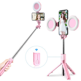 4 in 1 Wireless bluetooth Selfie Stick LED Ring light Extendable Handheld Monopod Live Tripod