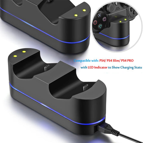 5V PS4 LED Indicator Dual USB Controller Fast Charging Station Dock Charger & 4 Thumbstick