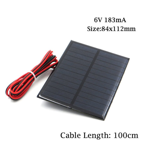 6V Solar Panel with 30/100/200cm wire Mini Solar System DIY For Battery Cell Phone Charger 0.6W 1W