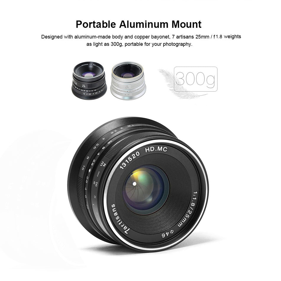 7artisans 25mm / F1.8 Prime Lens to All Single Series for E Mount / for Micro 4/3 Cameras A7 A7II