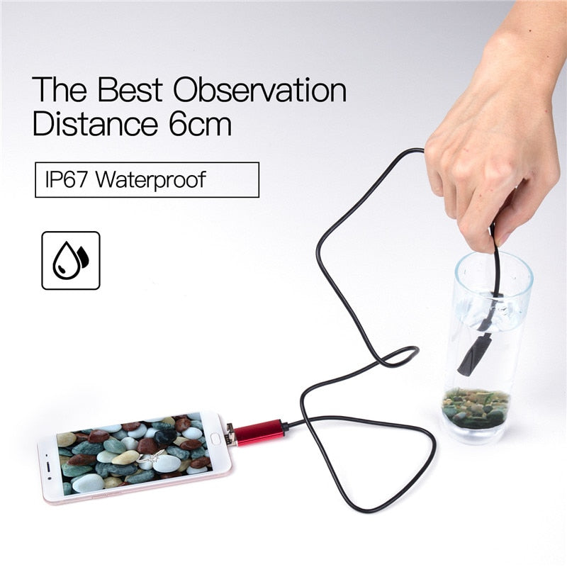 7mm 2 IN 1 USB Endoscope 480P HD Snake Tube and Android Borescope USB Endoscopio Inspection Micro