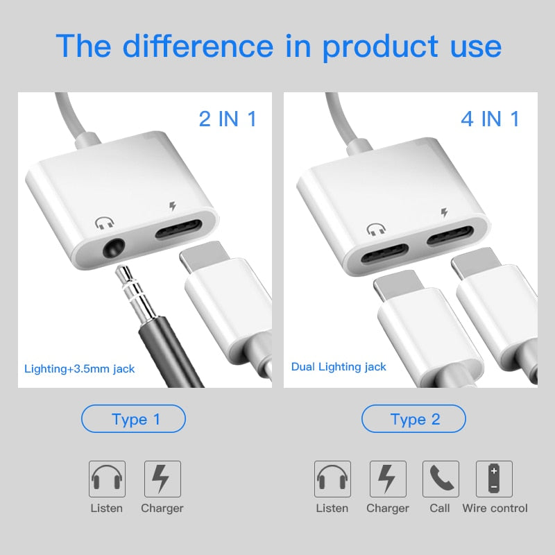 !ACCEZZ For iPhone Adapter 2 in 1 For Apple iPhone XS MAX XR X 7 8 Plus IOS 12 3.5mm Jack Earphone