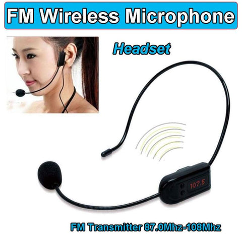 ALLOYSEED Portable FM Wireless Microphone Headset Megaphone Radio Mic For Loudspeaker For Teaching