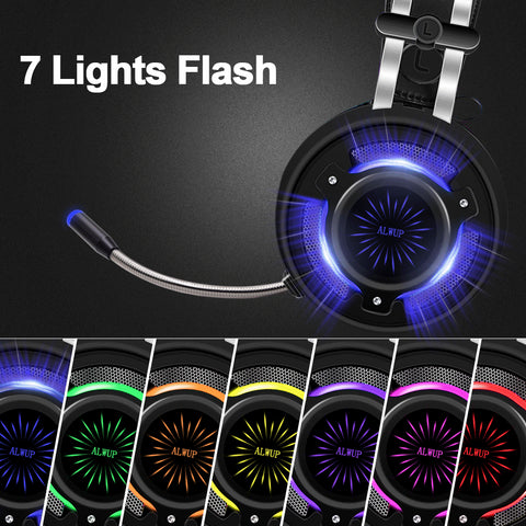 ALWUP PS4 Gaming Headphones for computer Xbox One Headset with mic PC Games Gamer headphone with