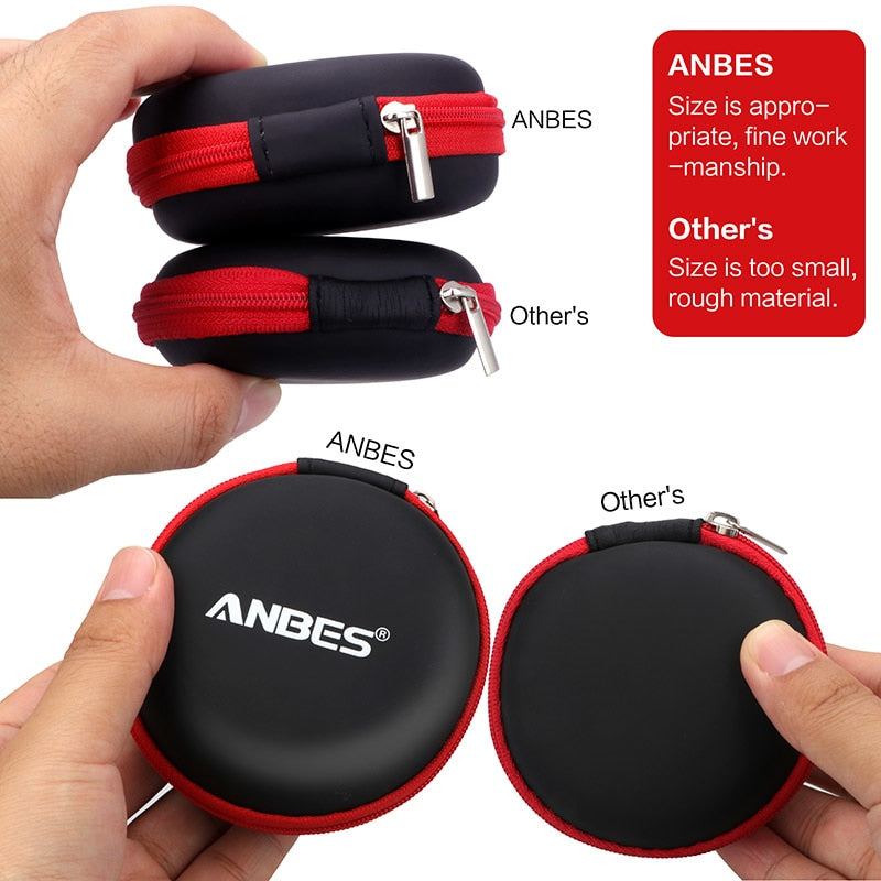 ANBES Case for Earphones Mini Zippered Round Storage Hard Bag Headset box for Earphone Case SD TF