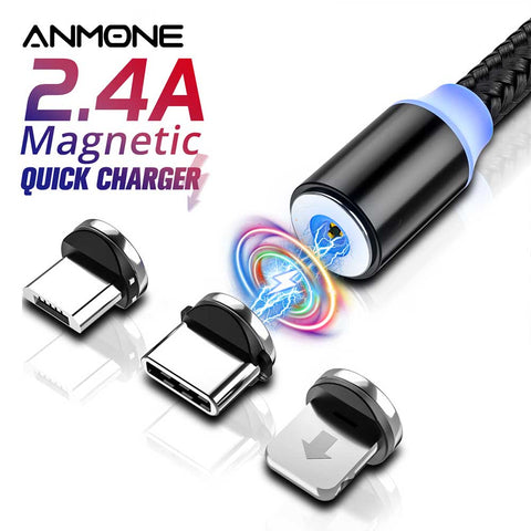 ANMONE Magnetic Micro USB Type C Cable Magnetic Charge For xiaomi redmi note7 Android for Umidigi F2