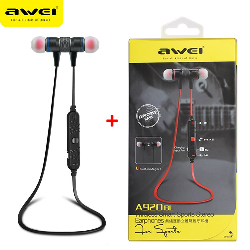 AWEI A920BL Update Version Bluetooth V4.1 Earphone Wireless Headphone With Microphone Neckband