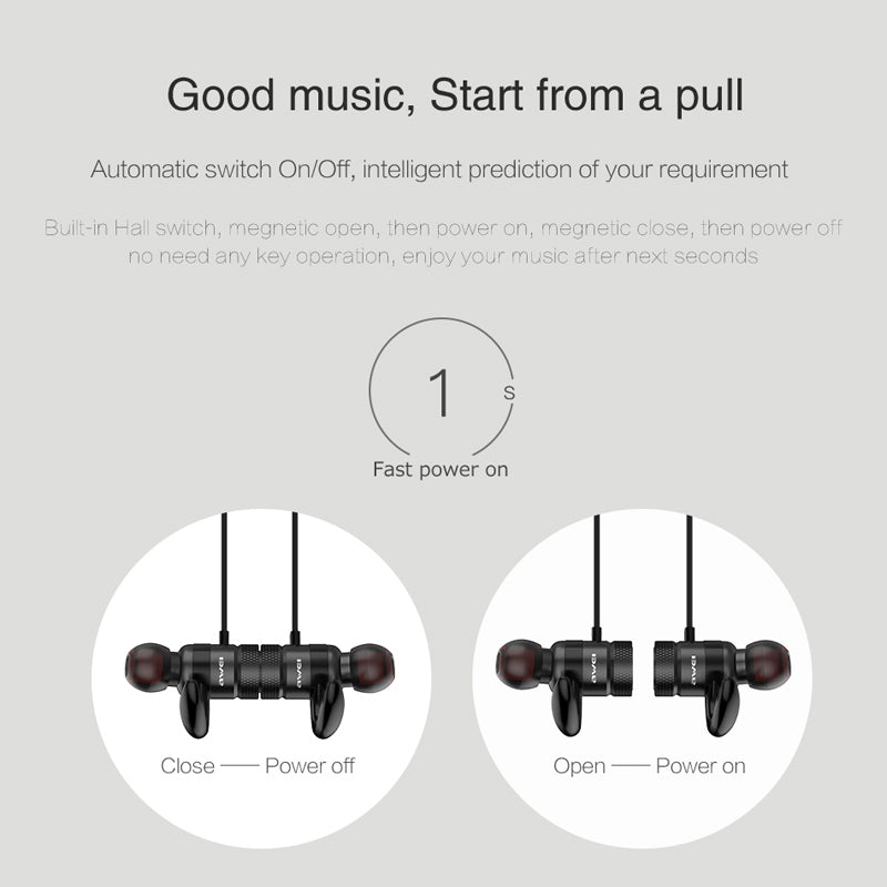 AWEI A920BLS Bluetooth Earphone Wireless Headphone Sport Headset with magnet Auriculares Cordless