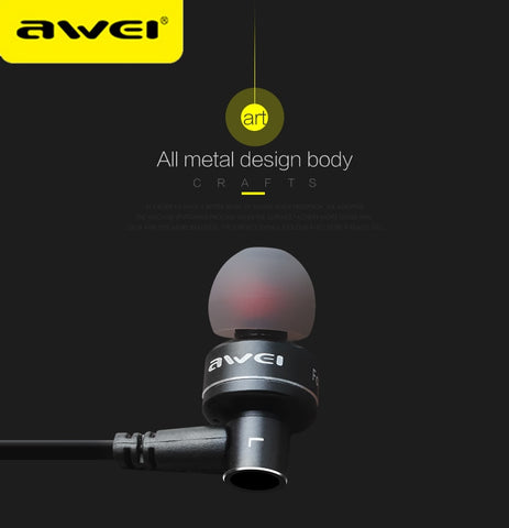 AWEI ES-10TY Metal Stereo Headphones  In-Ear Noise Cancelling Earphone Super Bass HIFI Kulakl k With