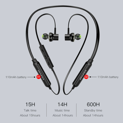 AWEI G20BLS Bluetooth Earphone Wireless Headphones With Mic Dual Driver 14H Playback Stereo Neckband