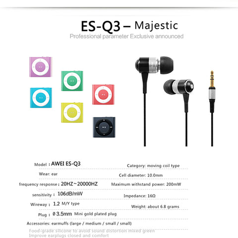 AWEI Q3 Wired Sport Headphone Stereo In-Ear Earphone Super Bass HIFI Sound Headset Headfone Noise