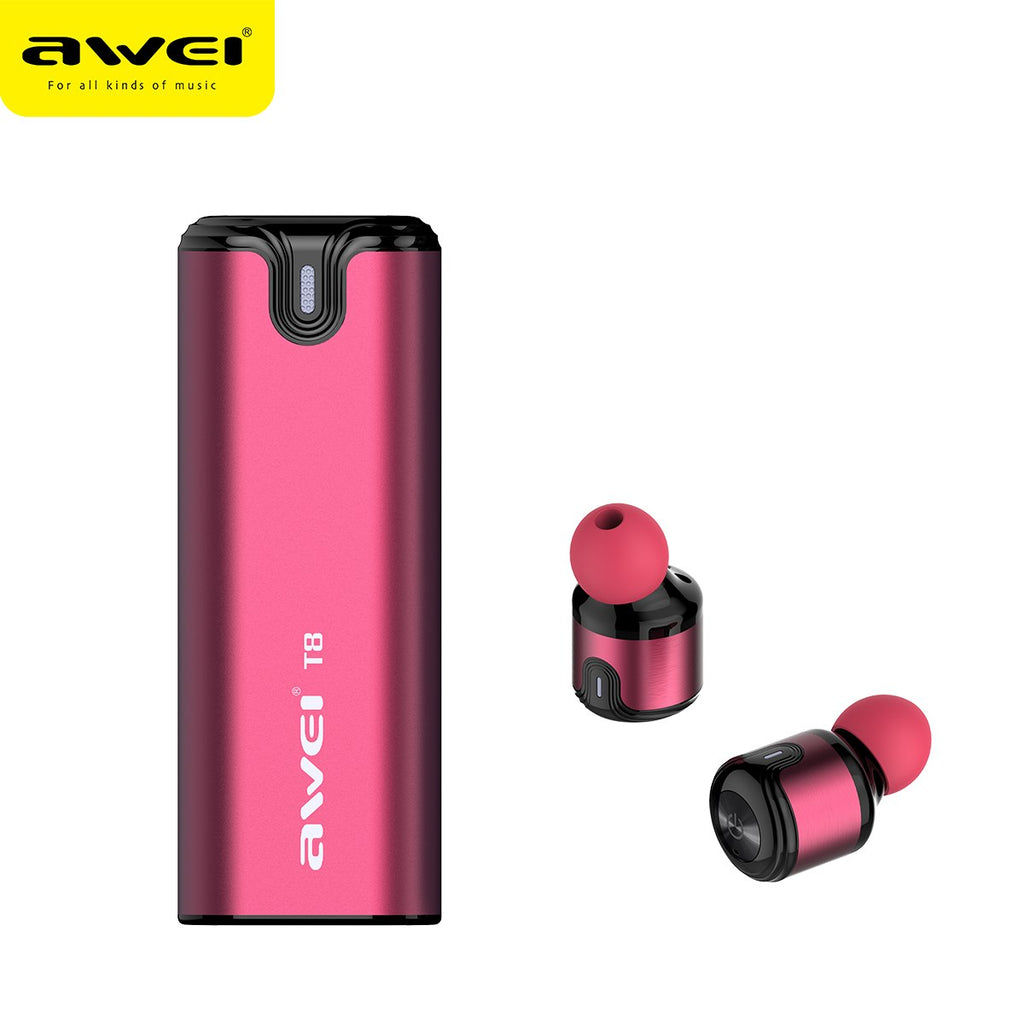AWEI T8 TWS Bluetooth earphones business wireless headphone 3D stereo headset and power bank with