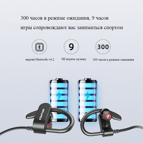 AWEI WT50 Sport Wireless Earphones Bluetooth Dual Power Ear-hook Waterproof IPX4 Headset