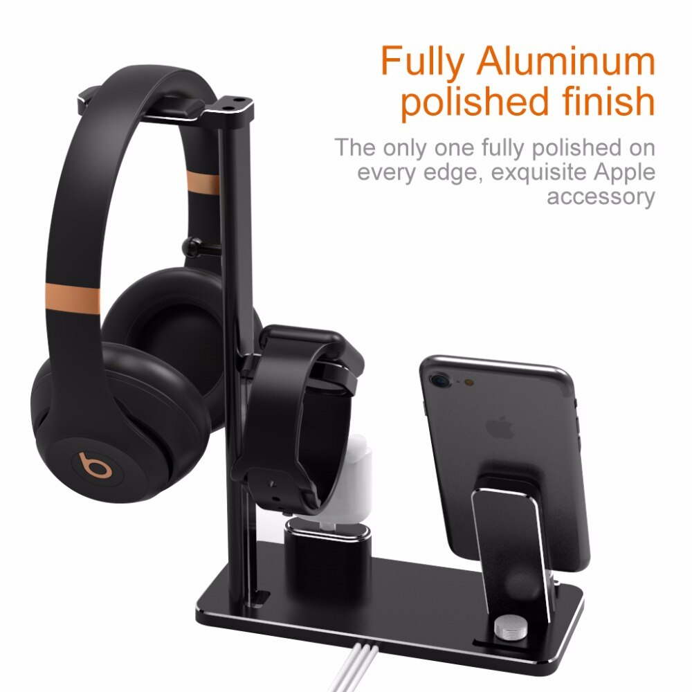 Aluminium Headphone Stand Holder Charging Dock Charger Station Mount Base For Apple Watch Series 2/1