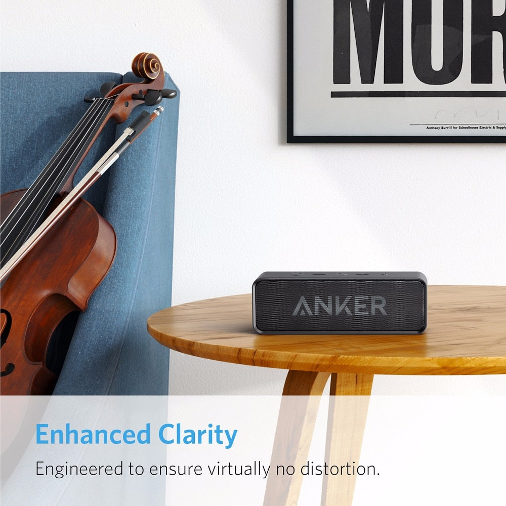 Anker SoundCore Portable Wireless Bluetooth Speaker with Dual-Driver Rich Bass 24h Playtime 66 ft