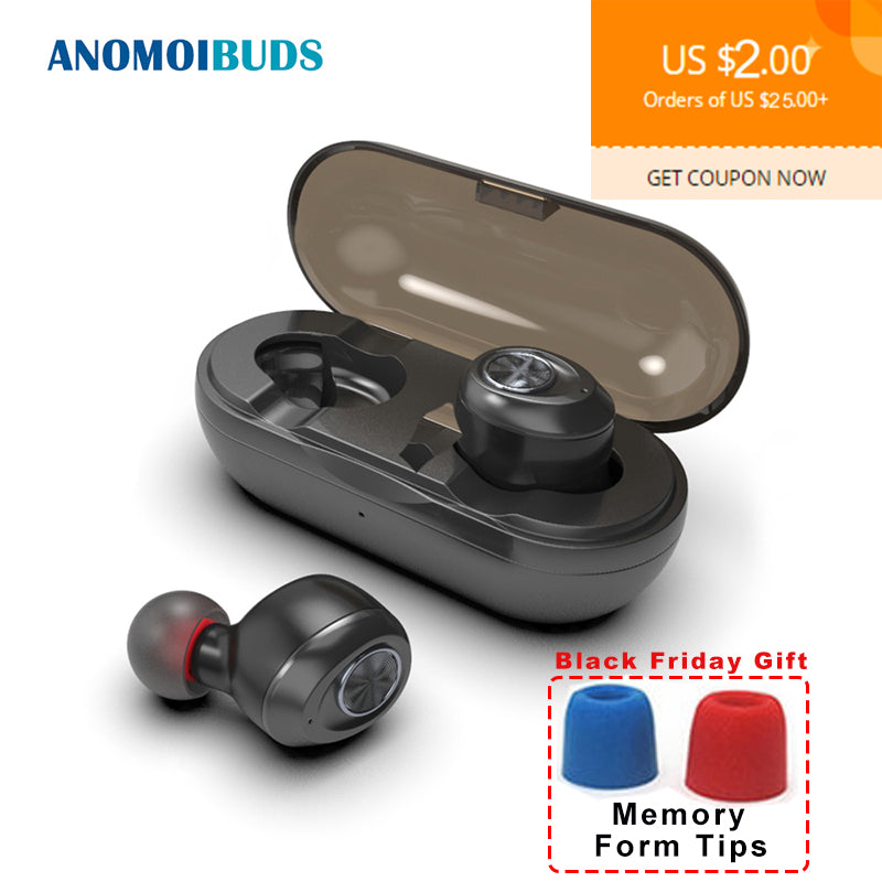Anomoibuds Capsule Wireless TWS Earbuds V5.0 Bluetooth Earphone Headset Deep Bass Stereo Sound Sport