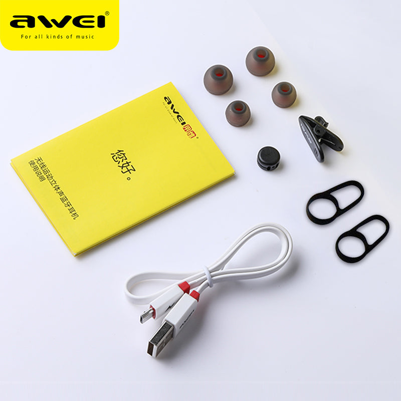 Awei A890BL Casque Wireless Headset Bluetooth Earphone With Mic Hi-Fi Sound Stereo Sports Running
