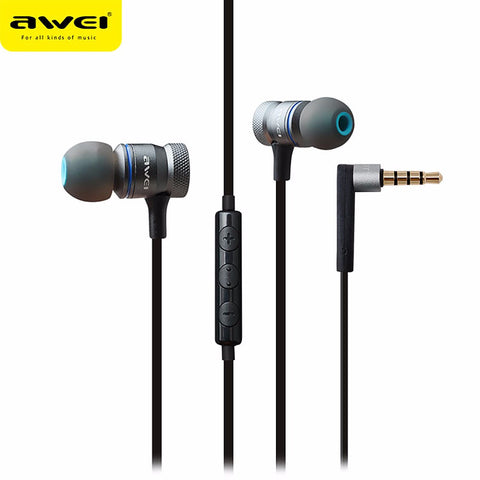 Awei ES-70TY In-Ear Earphone With Mic Metal Noise Canceling Headphones Stereo Headset Super Bass