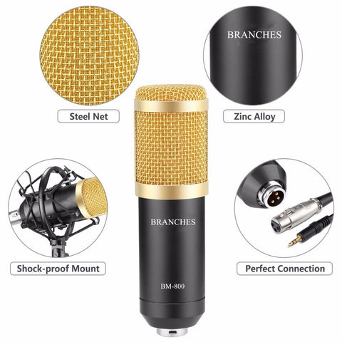 BM800 Mikrofon Condenser Sound Recording BM 800 Microphone With Shock Mount For Radio Braodcasting