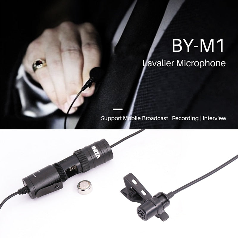 BOYA BY-M1 Lavalier Audio Video Microphone Clip-On Condenser Mic Recorder for iPhone X 8 Plus