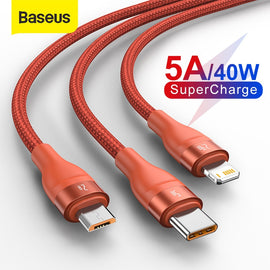 Baseus 3 in 1 USB Type C Cable for Xiaomi Samsung 5A Fast Charging Data Cable for iPhone