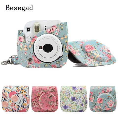 Besegad PU Leather Protective Bag Holder Pouch Case w/Strap for Fujifilm Instax Mini 8 8  9