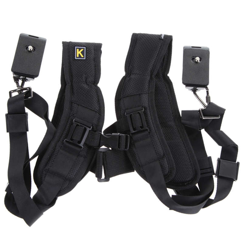 Black Double Dual Camera Shoulder Strap Quick Rapid Sling Camera Belt Adjustment for Canon for 2