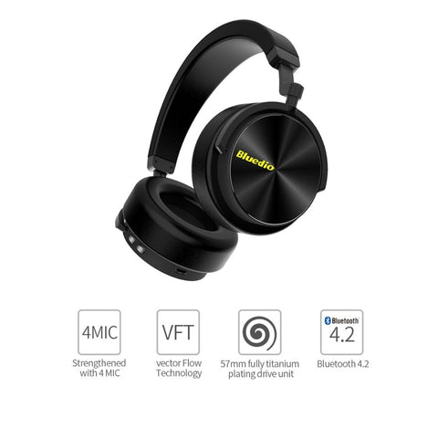 Bluedio T5 HiFi Active Noise Cancelling headphones wireless bluetooth Over ear headset with