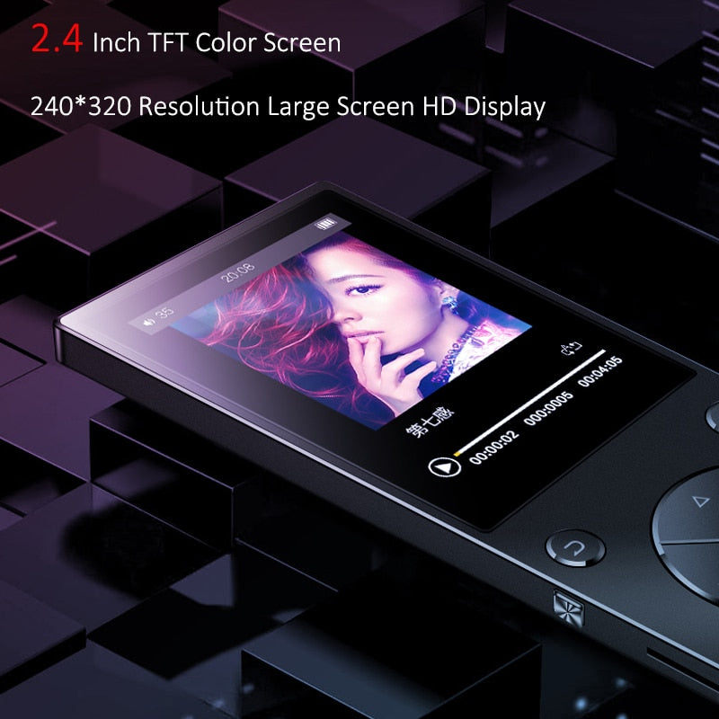 Bluetooth4.2 MP3 Music Player Built-in Speaker with 2.4 Inch TFT Screen Lossless Sound Player,