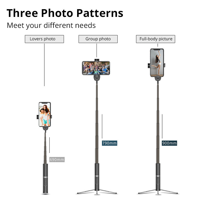 Bonola Portable Integrated Tripod Selfie Stick Hidden Phone Bracket Bluetooth Button Phone Self-timer Lever Holder