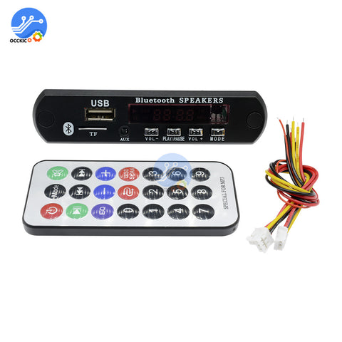 Car Audio USB TF FM Radio MP3 Module Wireless Bluetooth DC 5V 12V MP3 WMA FM Decoder Board with
