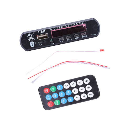DC 12V Automobile Car Bluetooth MP3 WMA FM AUX Decoder Board Plate Audio Module TF SD Card USB Radio