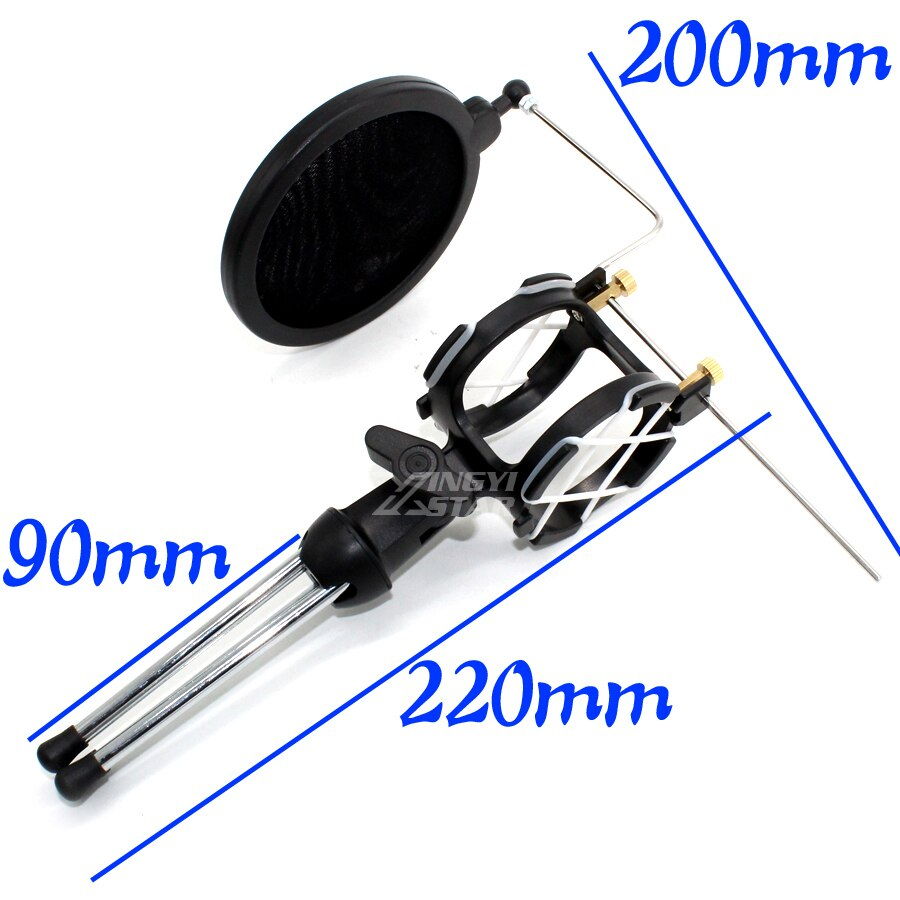 Desktop Recording Microphone Stand Tripod Wind Screen Pop Filter Shock Mount Isolation Shield Spider