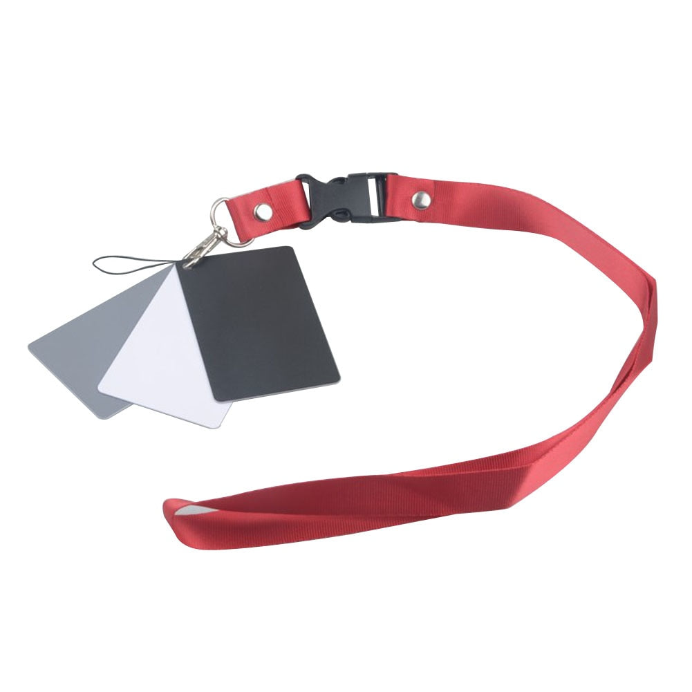 Digital Camera 3 in 1 Pocket-Size White Black Grey Balance Cards Gray Card with Neck Strap Rope