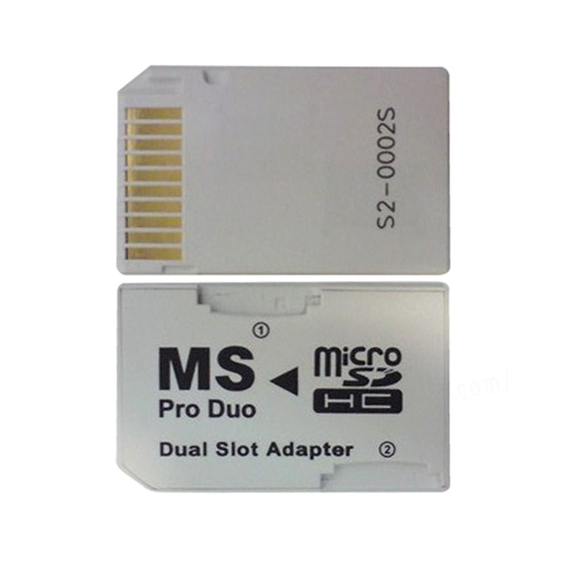 Dual 2 Slot MicroSD SDHC TF To Memory Stick MS Card Pro Duo Adapter
