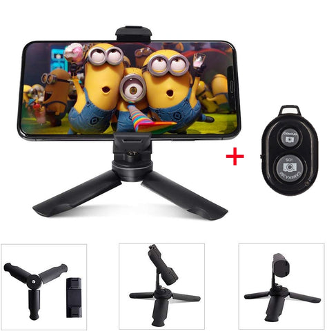 Mini Tripod With Bluetooth Remote Shutter Phone Tripod 360 Rotating Phone Holder Clip Stand
