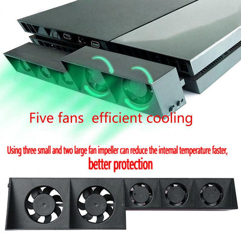 PS4 Console Cooler, Cooling Fan For PS4 USB External 5-Fan Super Turbo