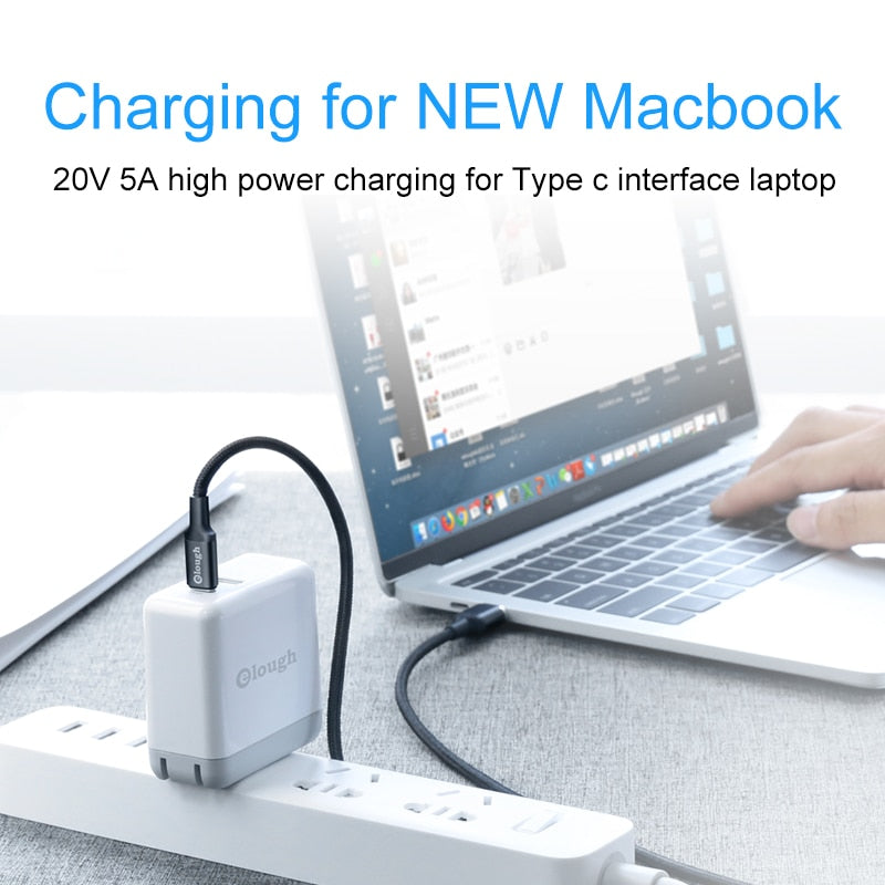 Elough 20V 5A USB Type C Magnetic Cable for New Macbook Huawei Matebook Xiaomi Laptop Mobile Phone