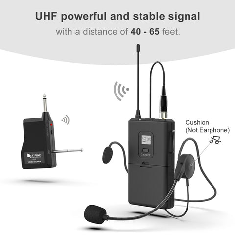 FIFINE 20-Channel UHF1/4 Inch Output lavalier& headset Microphone Transmitter for Camera Meeting